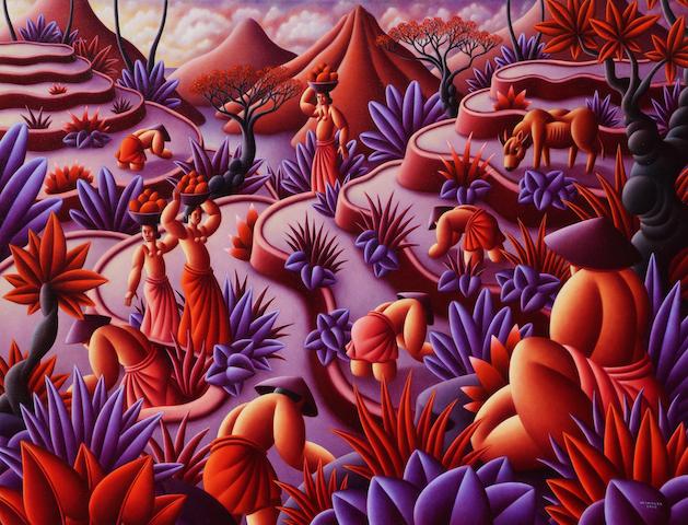 Paddies in Mauve, 100x130 cm, 2014, Oil on canvas